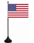 USA Desk / Table Flag with plastic stand and base.